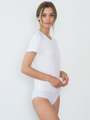 Jen Organic Cotton Crew Neck Bodysuit | White Jen Organic Cotton Crew Neck Bodysuit | White