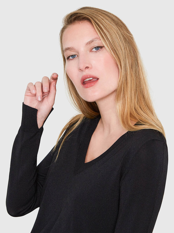 Livia Long Sleeve V-Neck Sweater | Black Livia Long Sleeve V-Neck Sweater | Black
