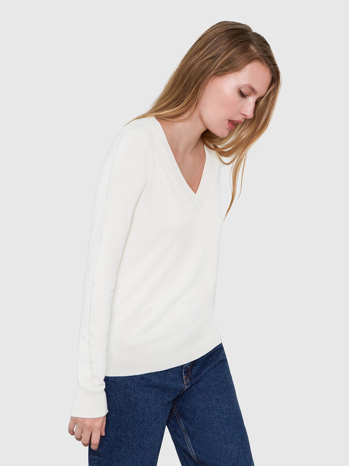 Livia Long Sleeve V-Neck Sweater | Cream