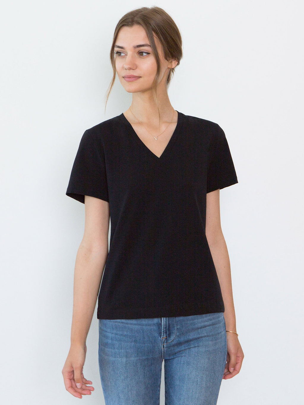 Magda Organic Cotton V-Neck T-Shirt | Black