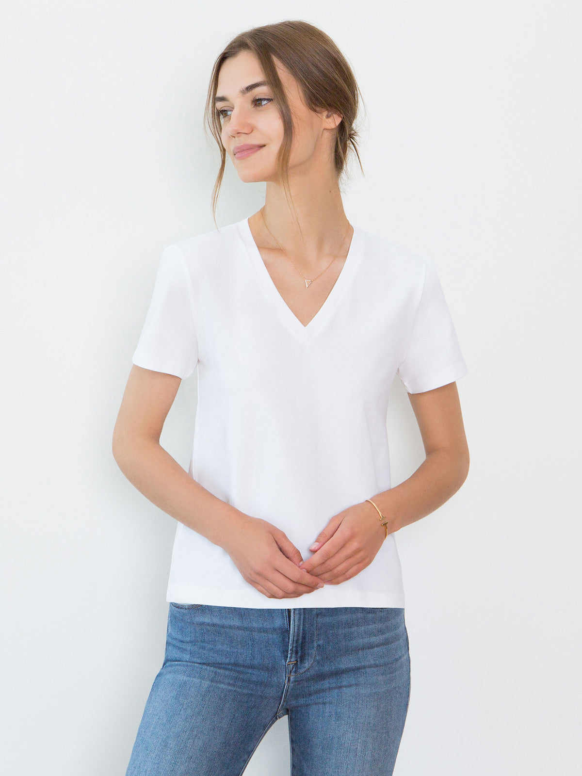 Magda Organic Cotton V-Neck T-Shirt | White