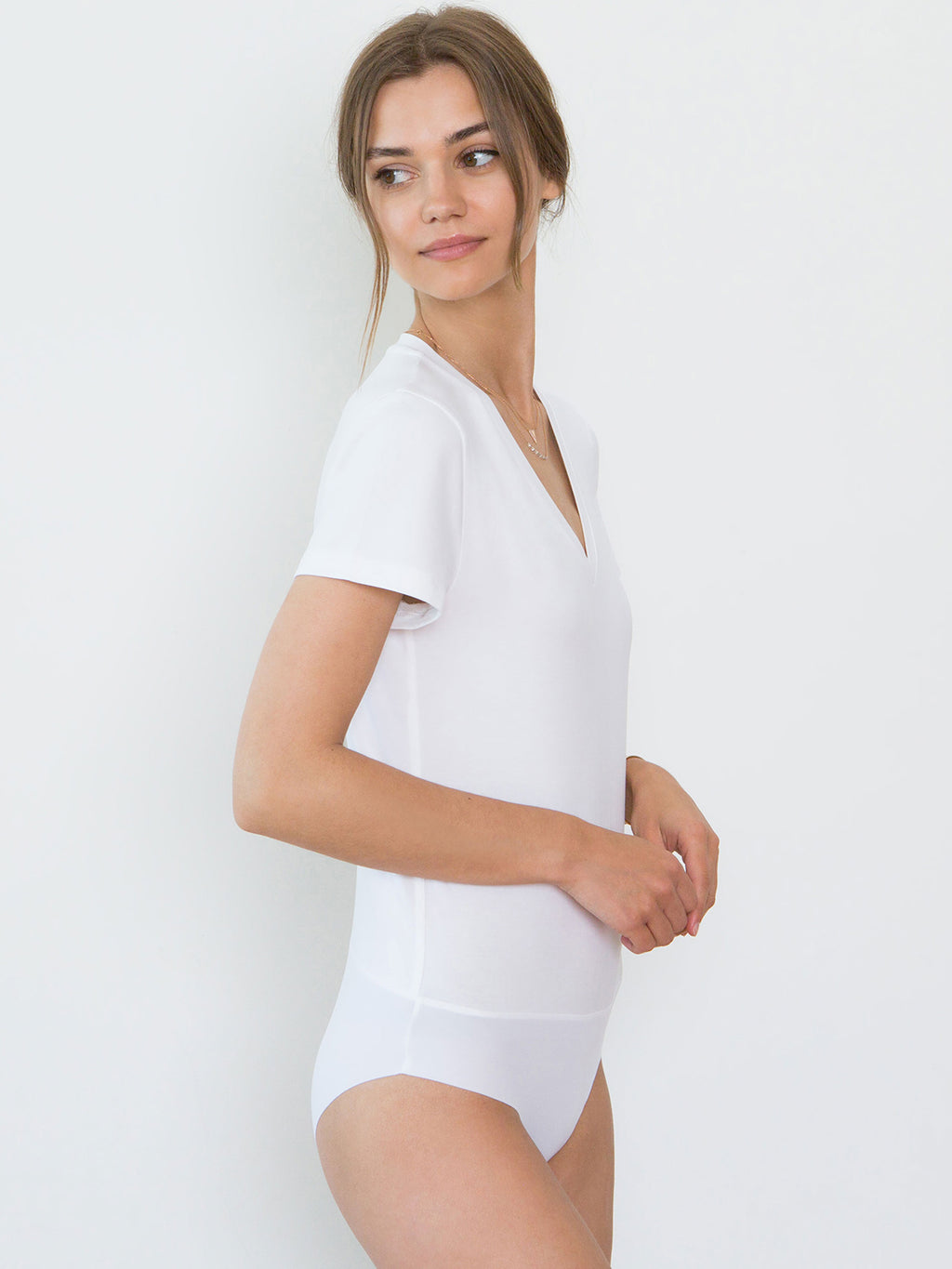 Nora Organic Cotton V-Neck Bodysuit | White