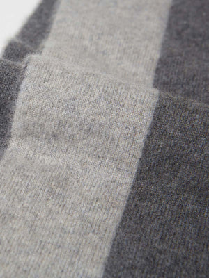 Double Face Striped Cashmere Throw Blanket | Heather Grey Combo Double Face Striped Cashmere Throw Blanket | Heather Grey Combo