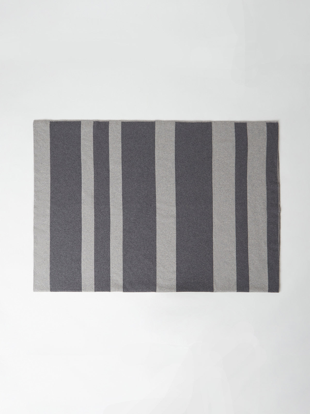 Double Face Striped Cashmere Throw Blanket | Heather Grey Combo