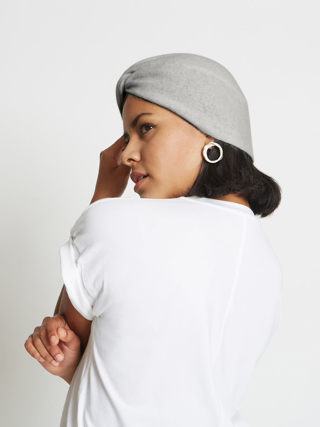 Stacy Cashmere Turban Hat | Heather Grey