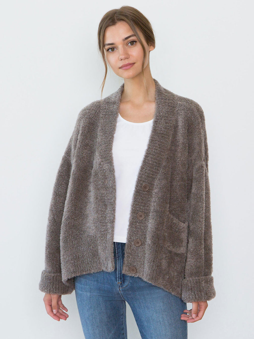 Teddy Oversized Merino Wool Cardigan | Mocha