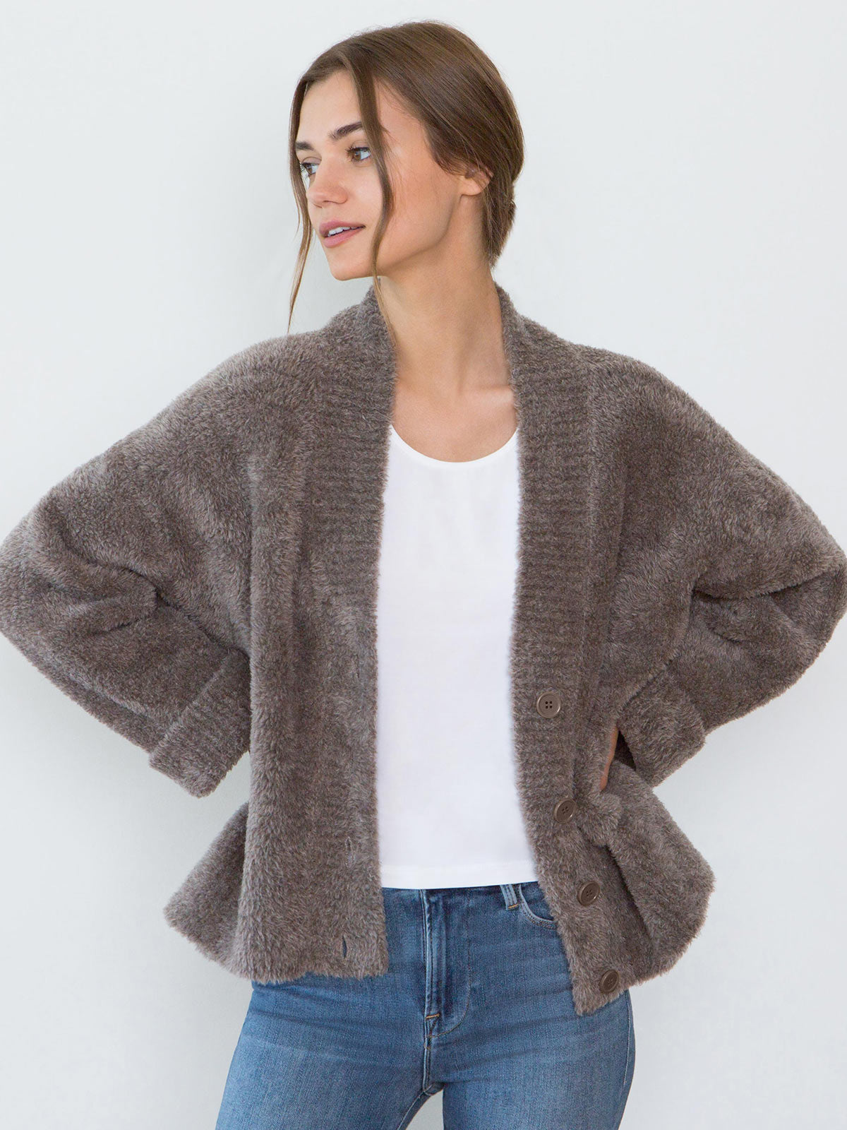 Teddy Oversized Merino Wool Cardigan | Mocha Teddy Oversized Merino Wool Cardigan | Mocha