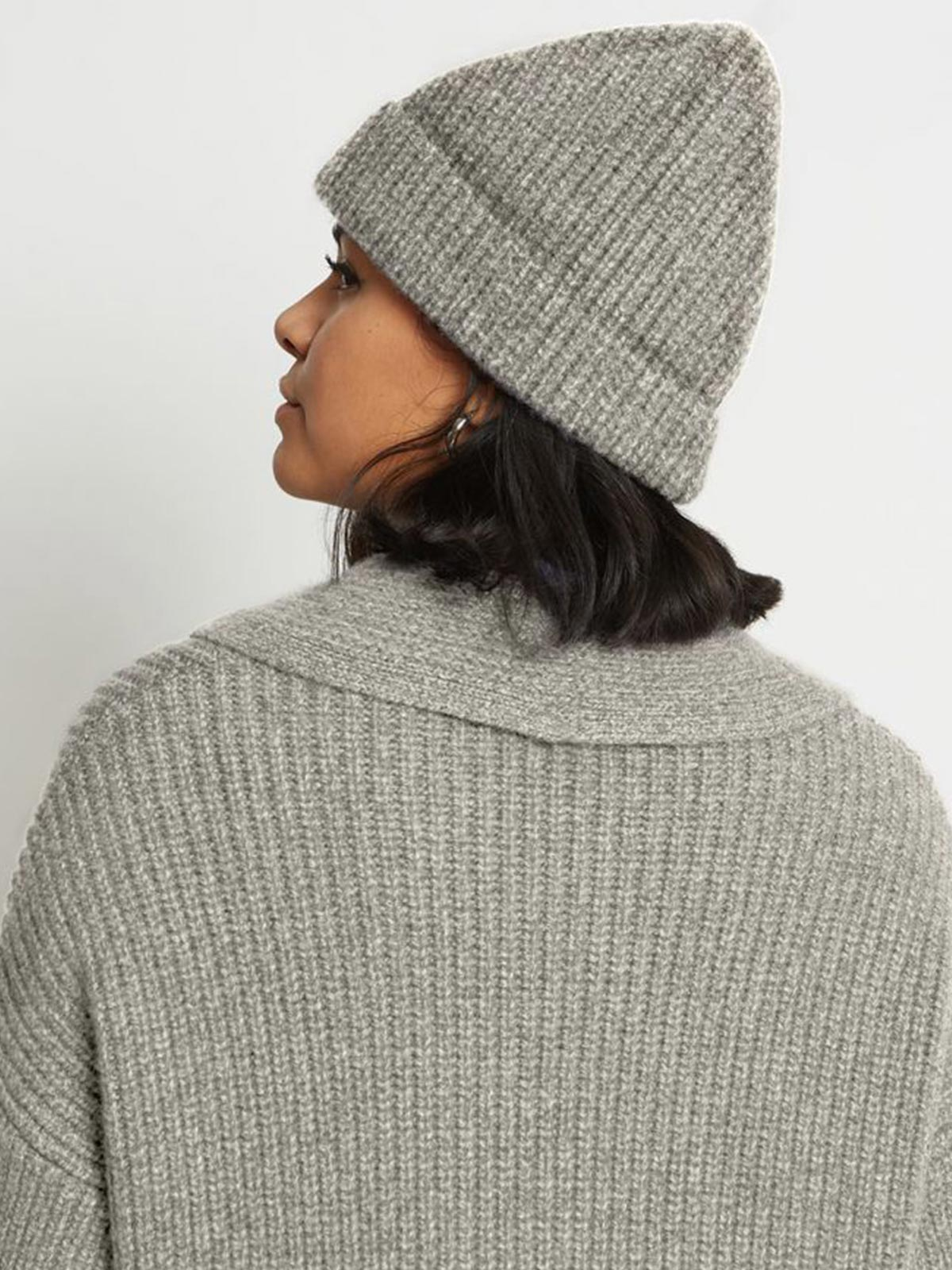 Tobe Ribbed Pure Cashmere Hat | Granite