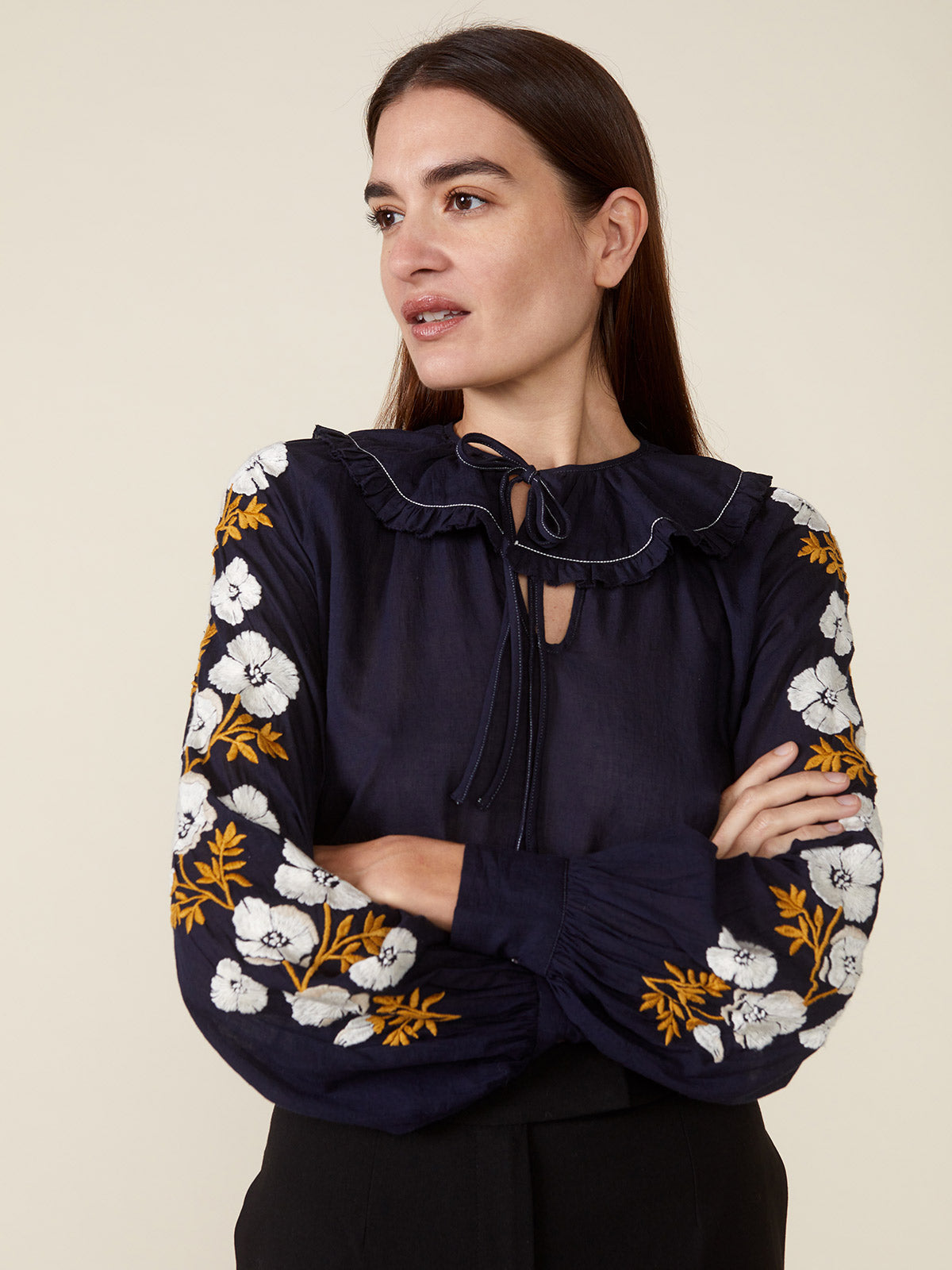 Ruth Ruffle Collar | Navy