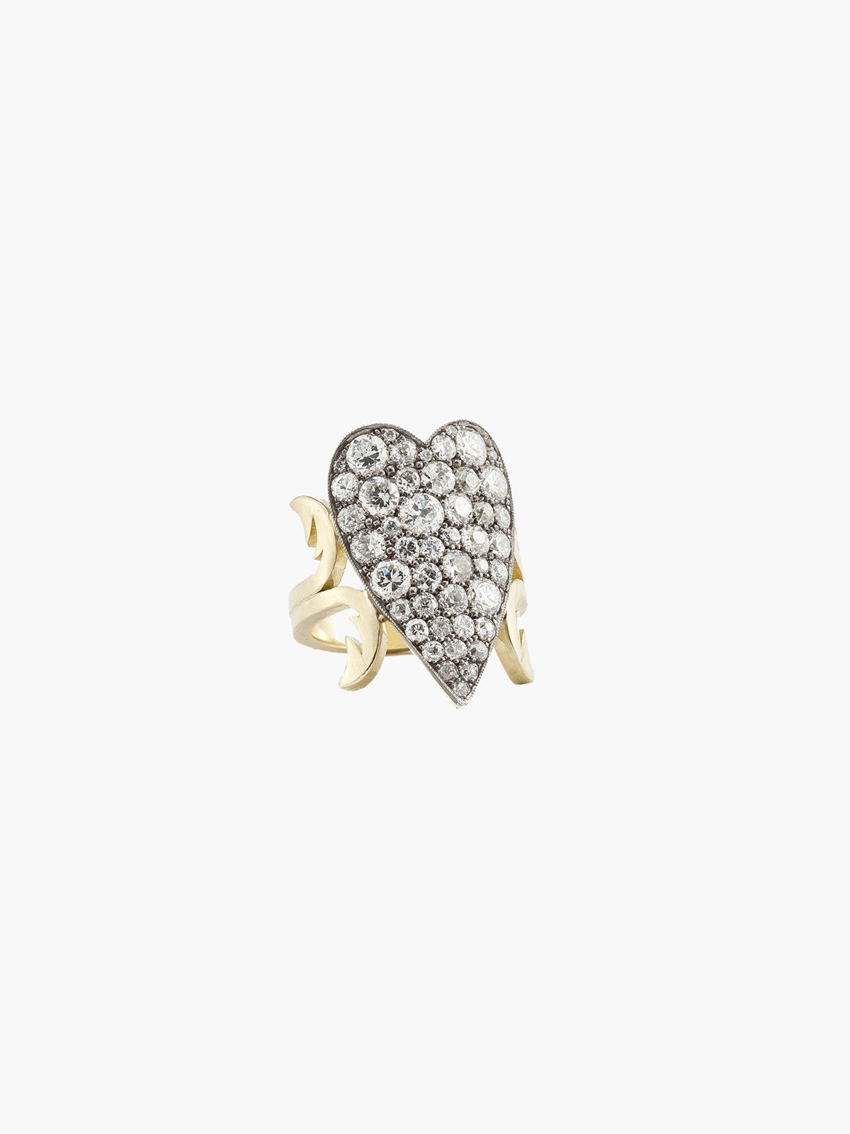 Ten Table Diamond Heart Ring