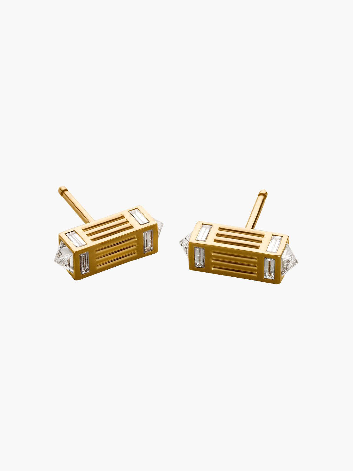 Fluted Capstone Bar Stud Earrings