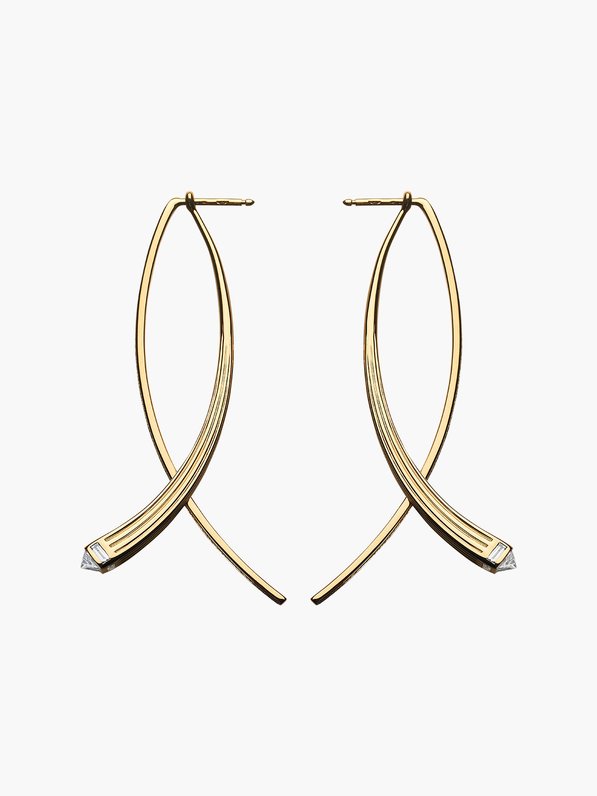 Fluted Double Arc Earrings Fluted Double Arc Earrings