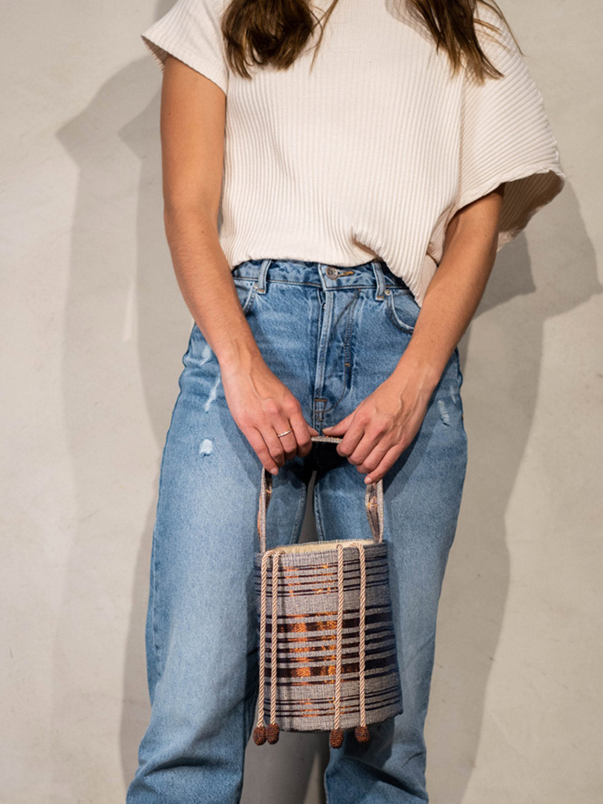 Bucket Bag | Navy & Copper Bucket Bag | Navy & Copper