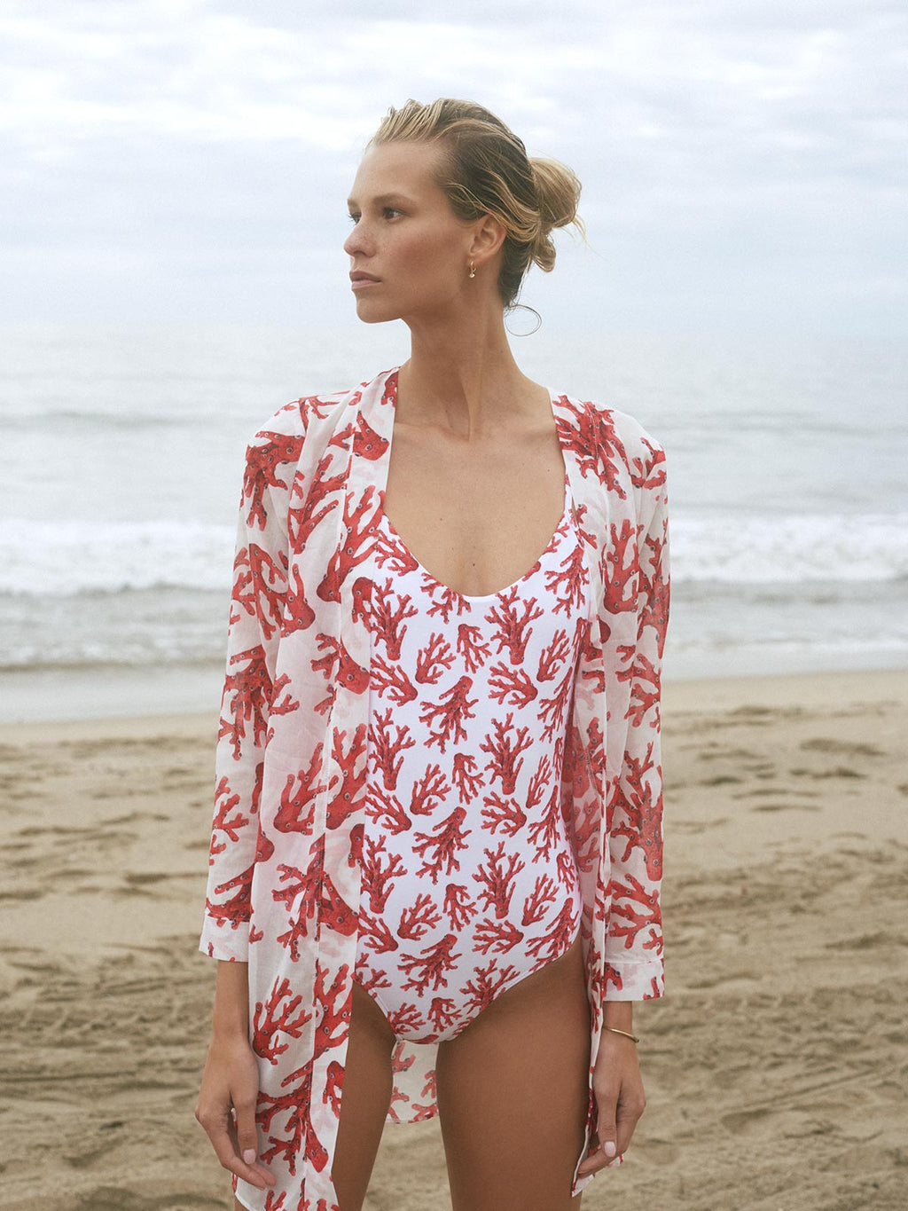 San Juan Cover Up | White Coral Print