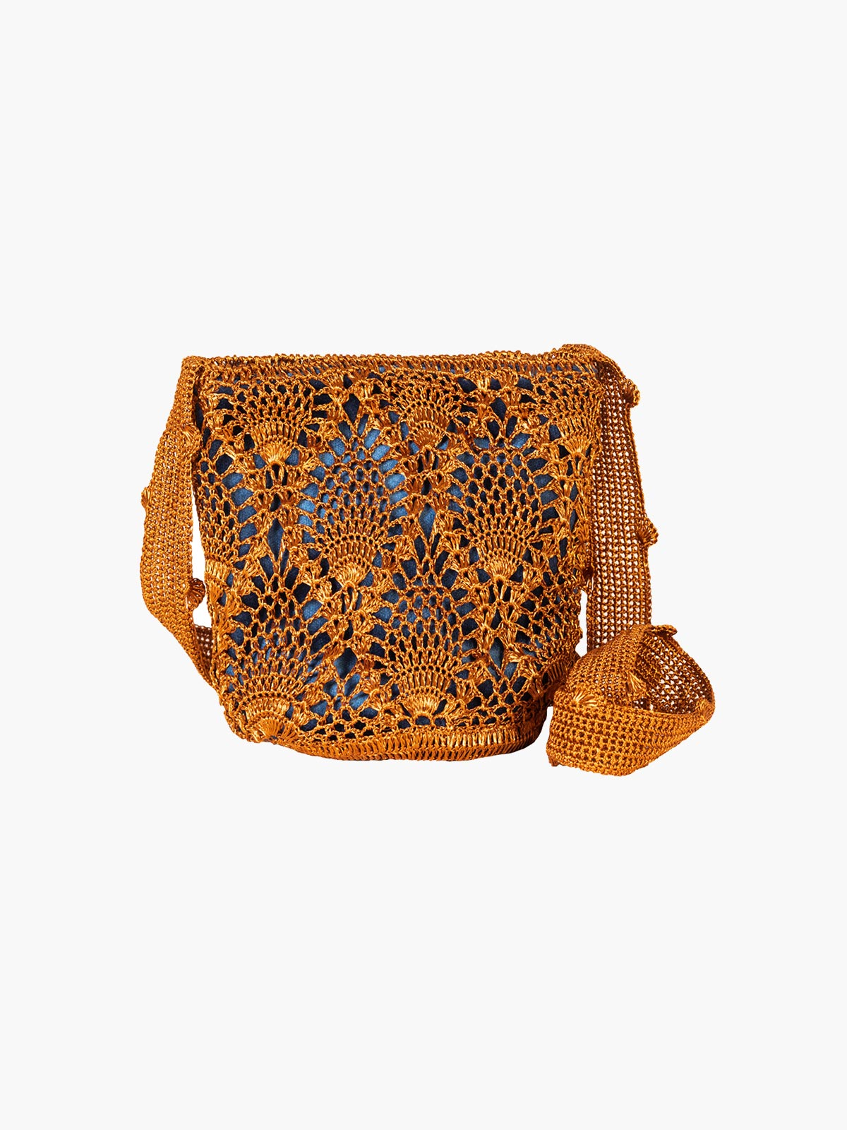 Pineapple Weave Mochila | Copper & Blue