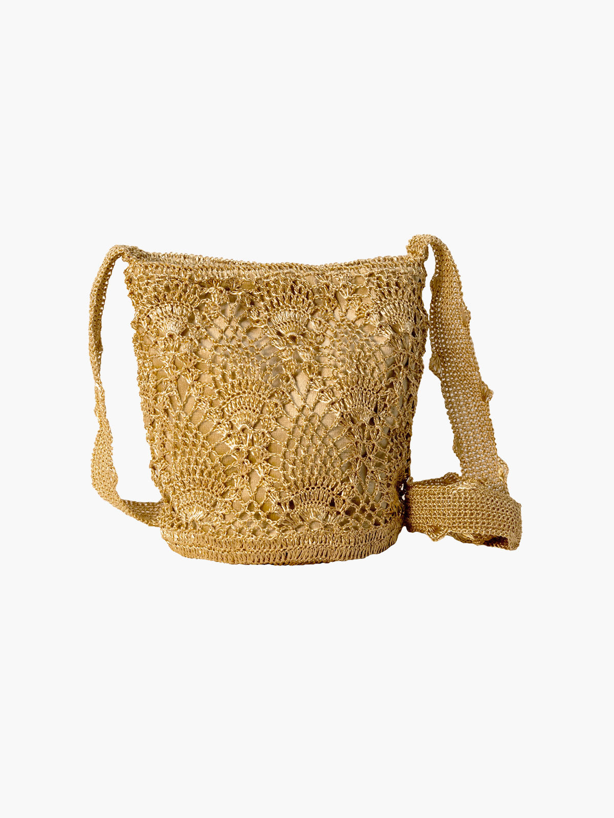Pineapple Weave Mochila | Gold & Beige