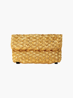 Seashell Weave Mini Metal Clutch | Gold Seashell Weave Mini Metal Clutch | Gold