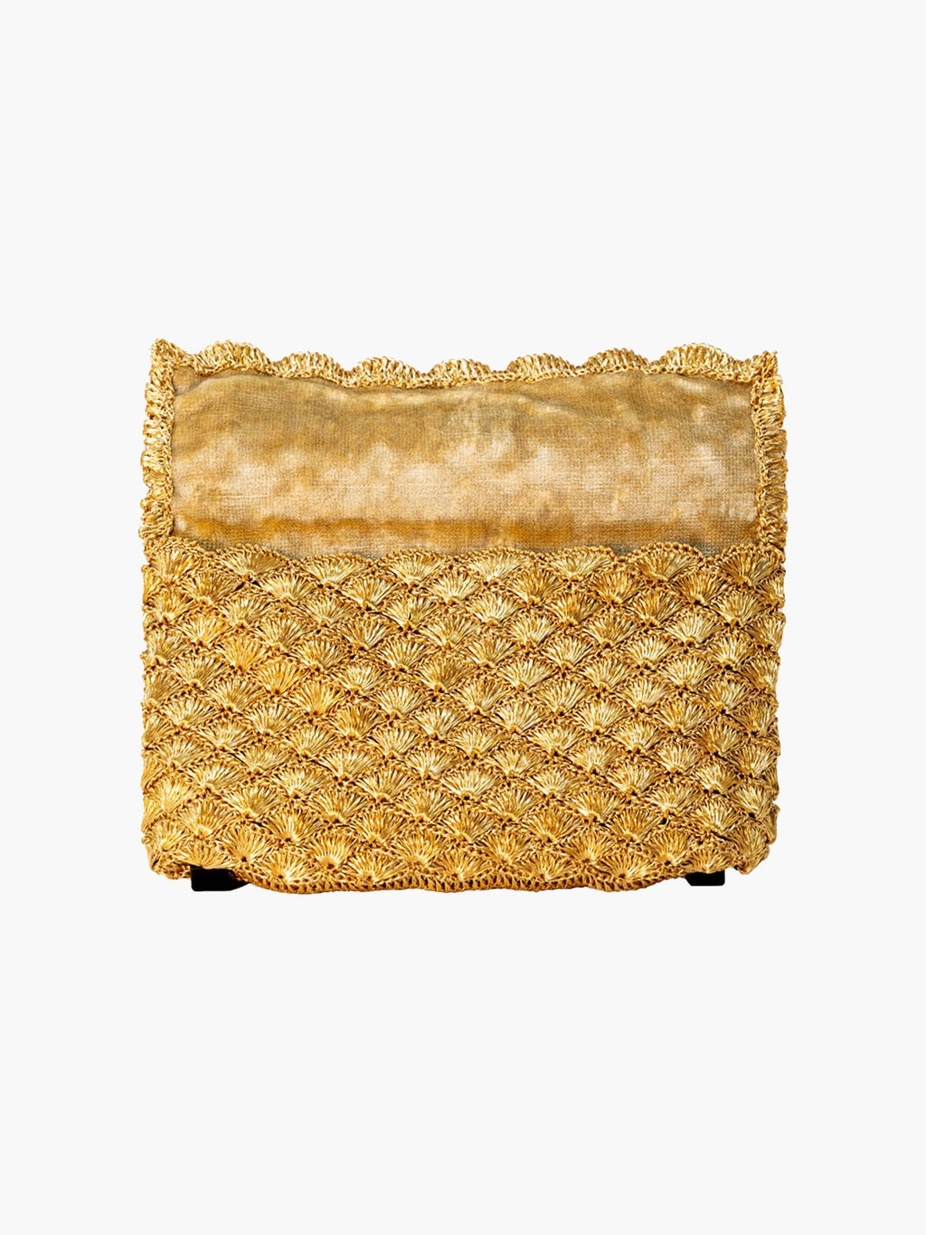 Seashell Weave Mini Metal Clutch | Gold