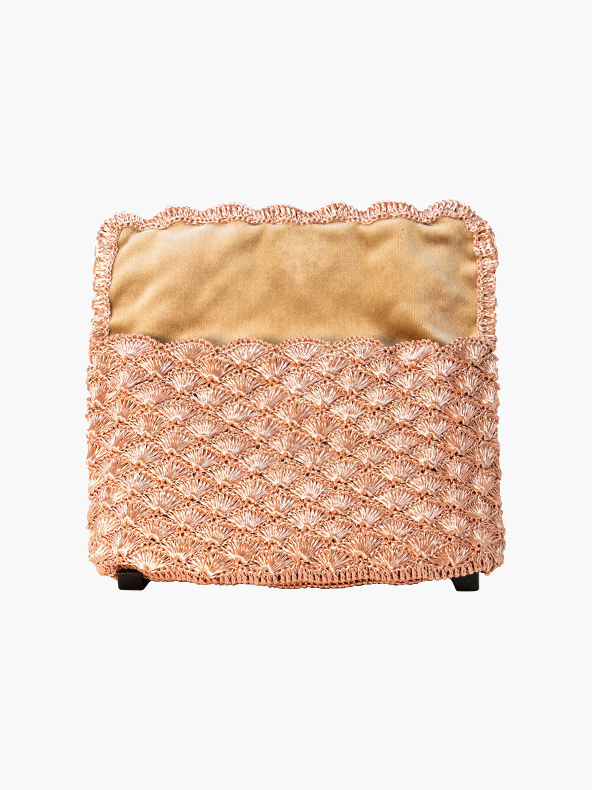 Seashell Weave Mini Metal Clutch | Rose Gold