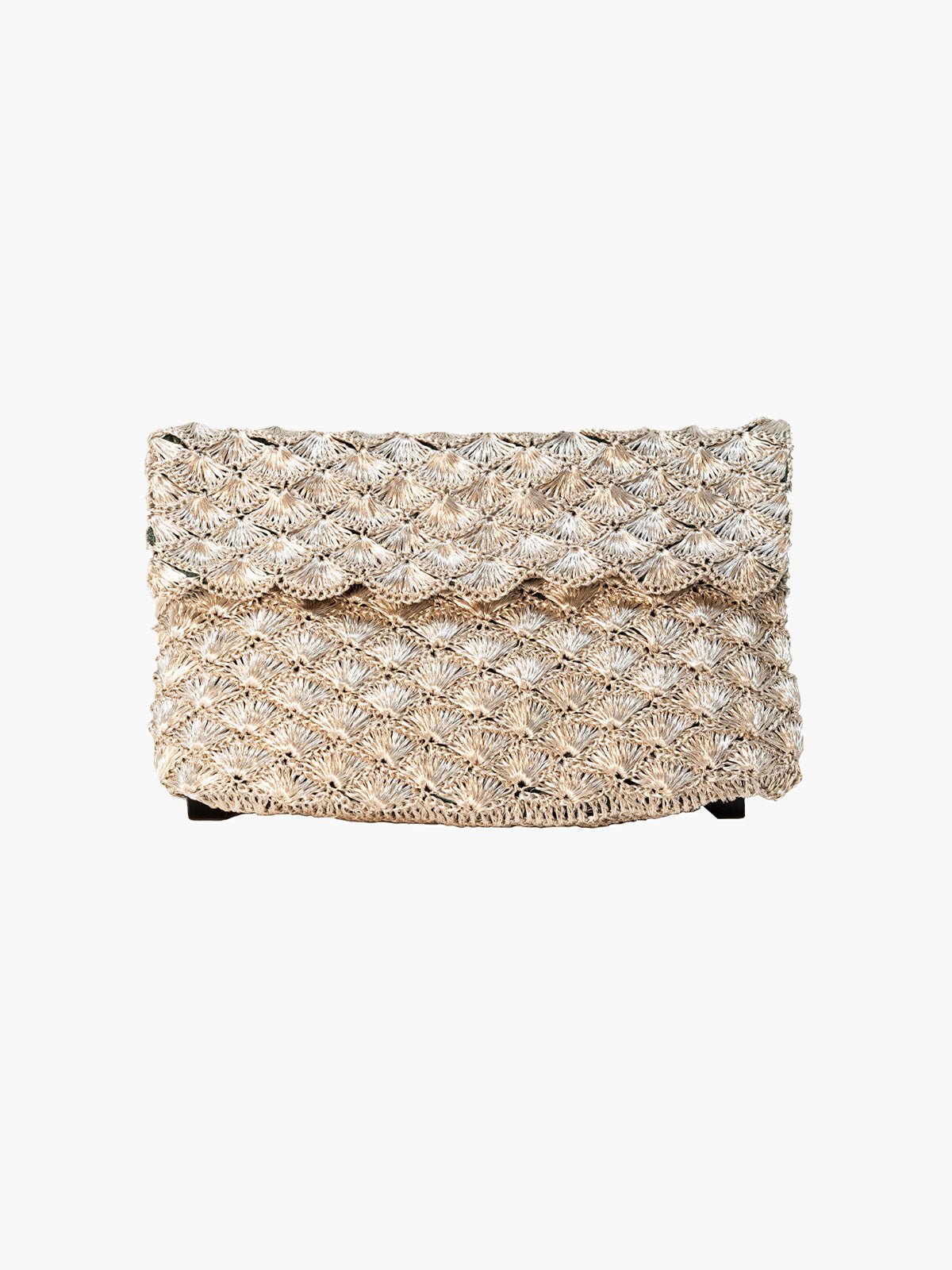 Seashell Weave Mini Metal Clutch | Silver