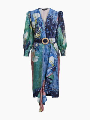 Lily Print Belted Midi Dress | Blue Multi Lily Print Belted Midi Dress | Blue Multi