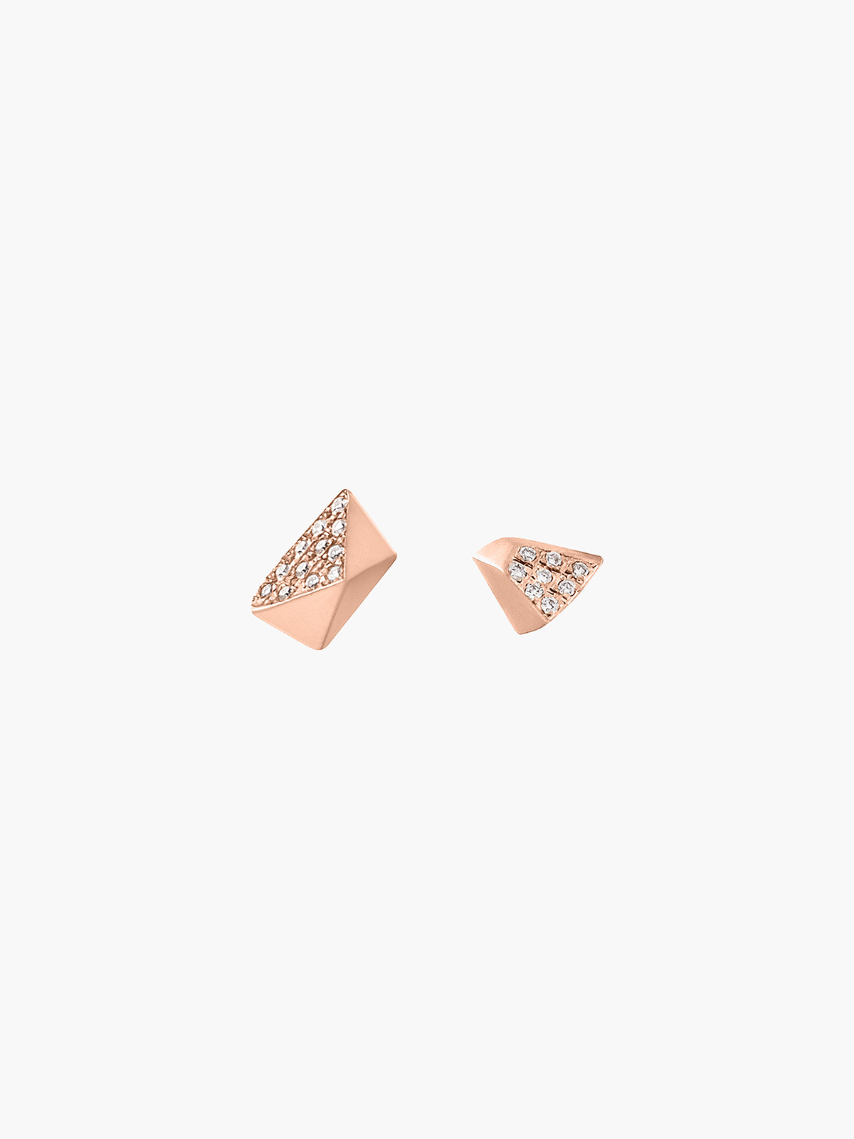 Diamond Mismatched Pyramid & Triangle Studs | Rose Gold