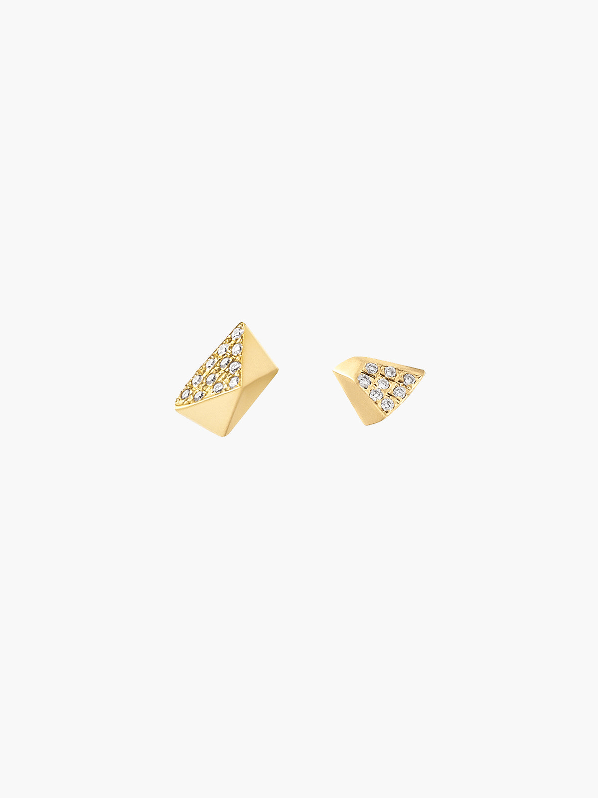 Diamond Mismatched Pyramid & Triangle Studs | Yellow Gold Diamond Mismatched Pyramid & Triangle Studs | Yellow Gold