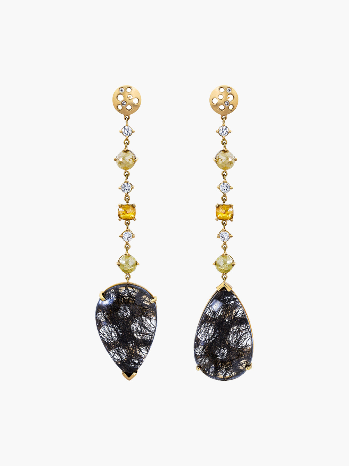 Turning Black Quartz Diamond Drop Earrings