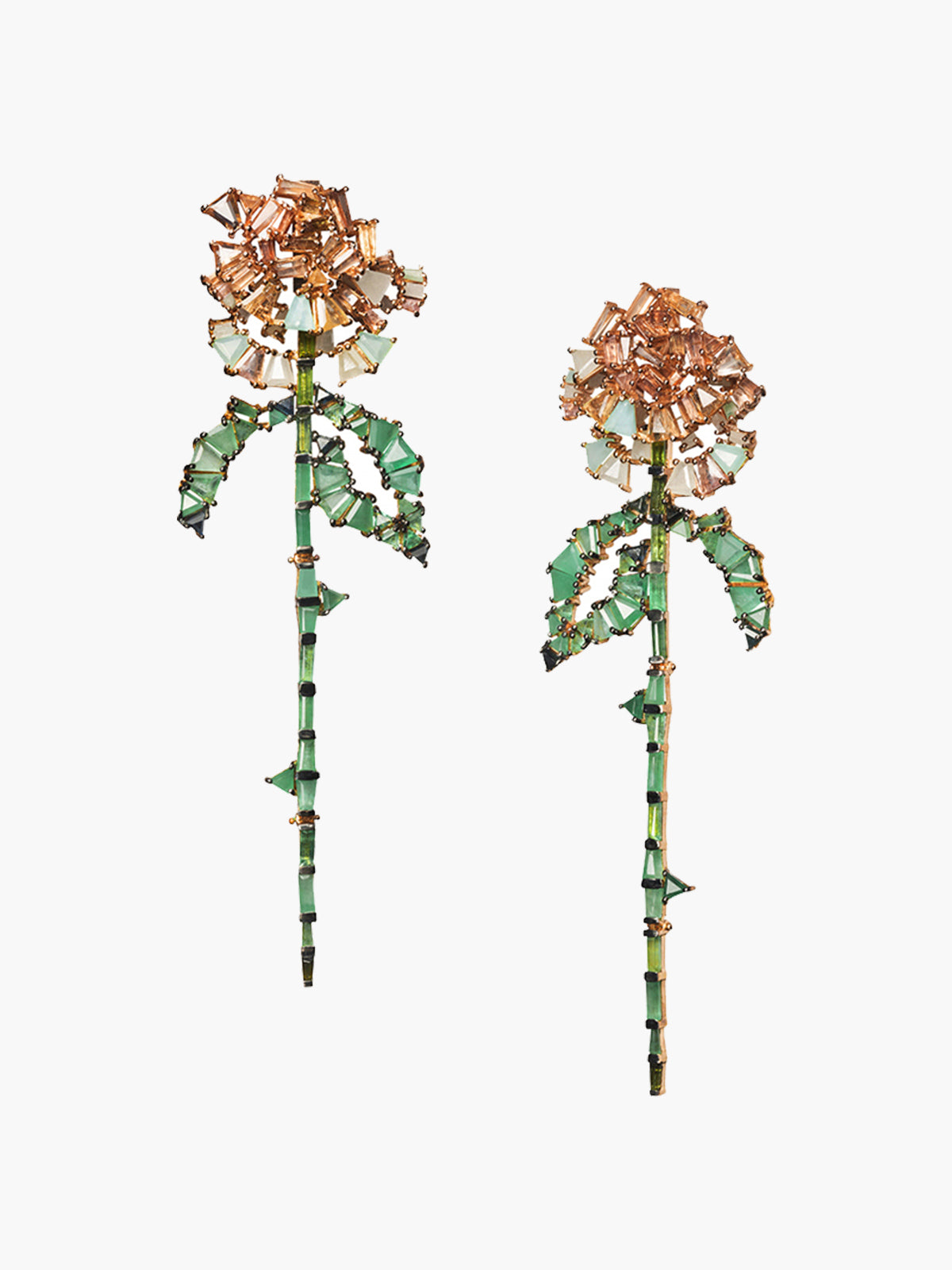 Rose and Stem Earrings