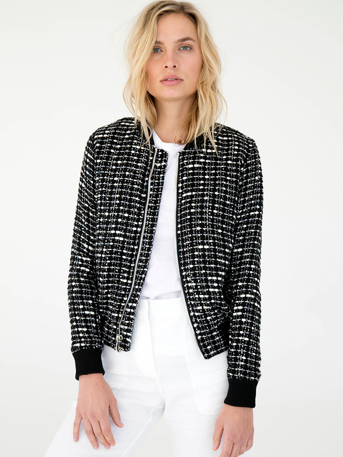 Vintage French Bouclé Bomber | Black & White