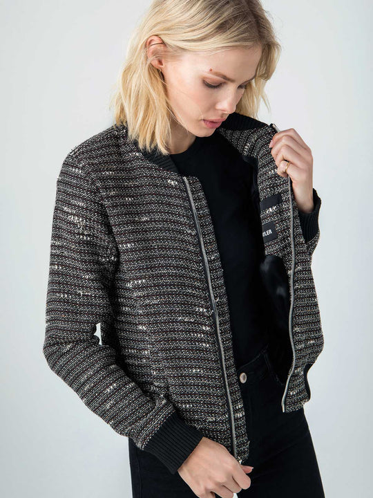 Vintage French Bouclé Bomber | Charcoal Grey & Metallic Red