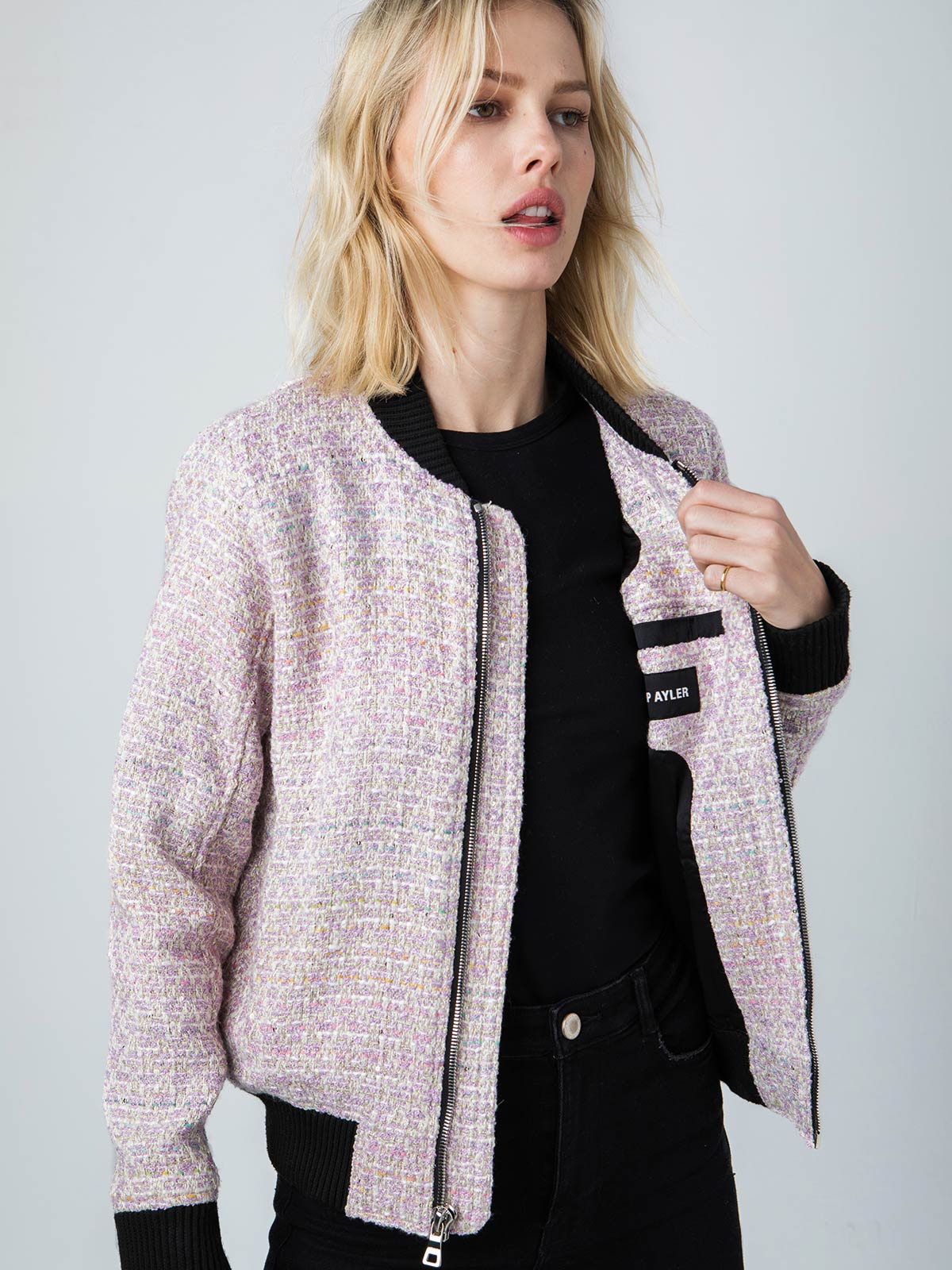 Vintage French Bouclé Bomber | Lilac