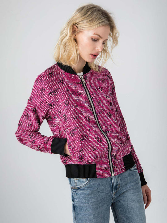 Vintage French Boucle Bomber | Pink Metal
