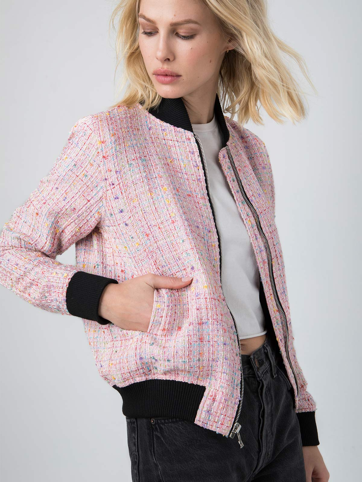 Vintage French Bouclé Bomber | Pink