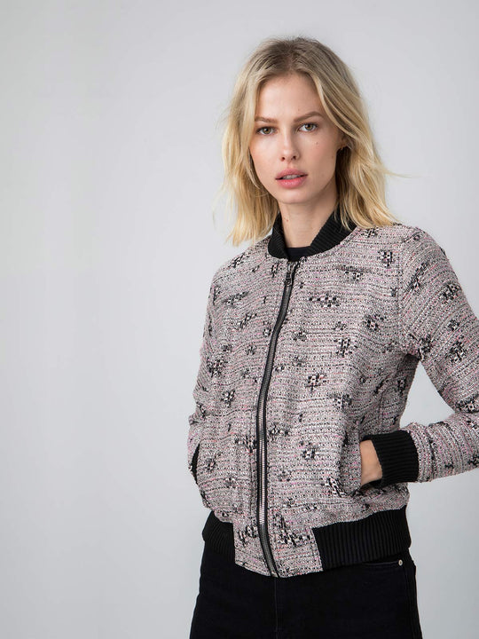 Vintage French Bouclé Bomber | Silver, Pink & Black
