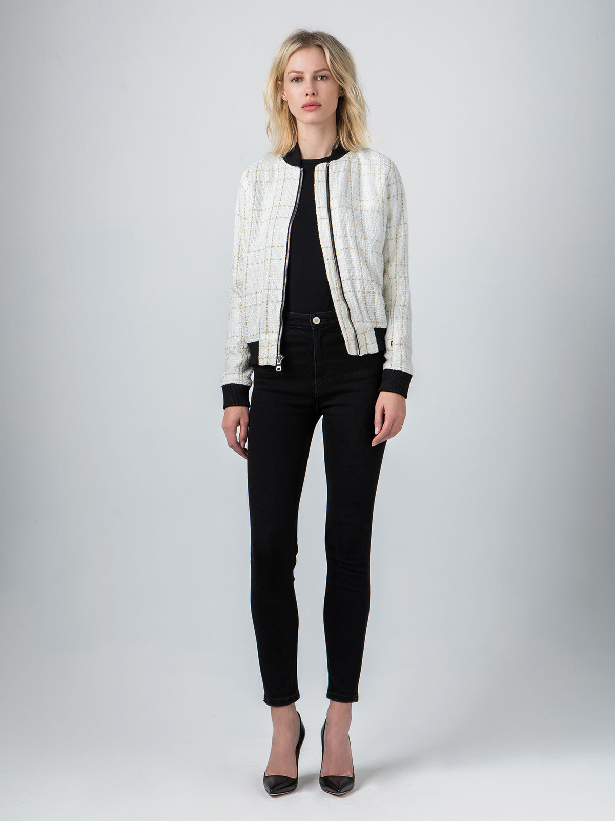 Vintage Chanel Bouclé Bomber | White & Metallic Gold Vintage Chanel Bouclé Bomber | White & Metallic Gold