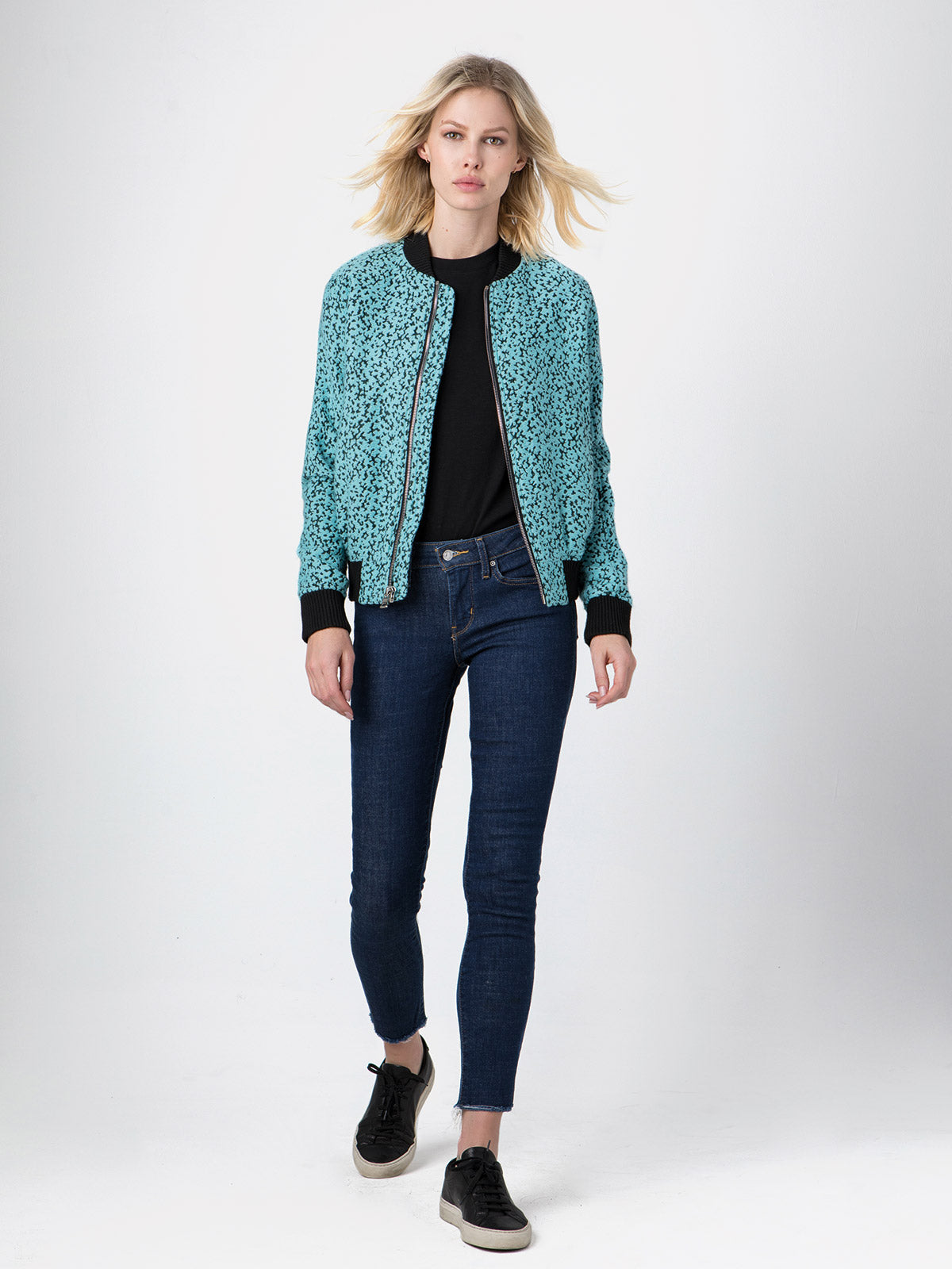 Vintage French Bouclé Bomber | Baby Blue