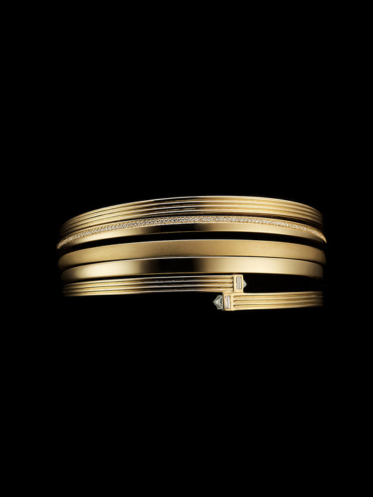 Fluted Capstone Double Wrap Bangle