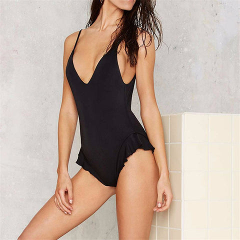 Frill Bottom, Deep V, One Piece Women's Swimsuit