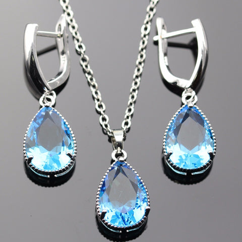 Lan Classic Hot-Selling Jewelry Sets Light Blue White AAA Zircon Necklace Pendant Earring For Free Shipping [variant: 1 ]