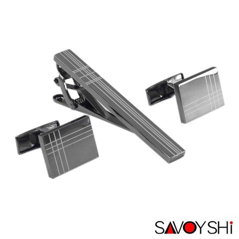 Cufflinks Set - SAVOYSHI Classic Square Black Laser Stripe Cufflinks/Tie Clip Set