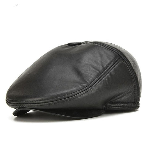 Hat - Leather Newsboy Cap