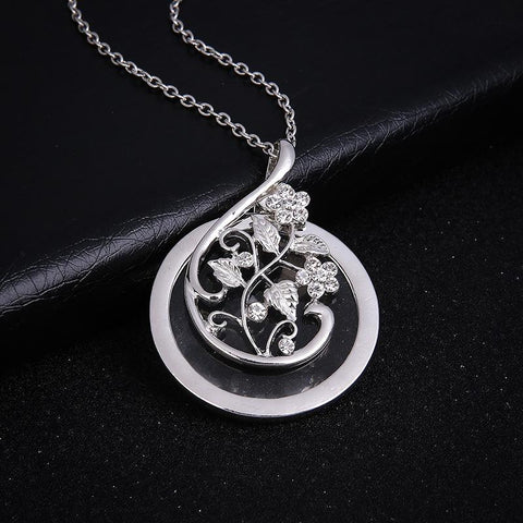 Magnifying Glass Necklace - Magnifying Glass Necklace Exquisite Flower Vine Leaves Pendant