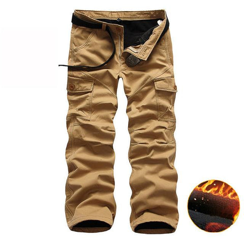 Men's Pants - Thick/Winter Big Pockets Men's Baggy Cargo Pants