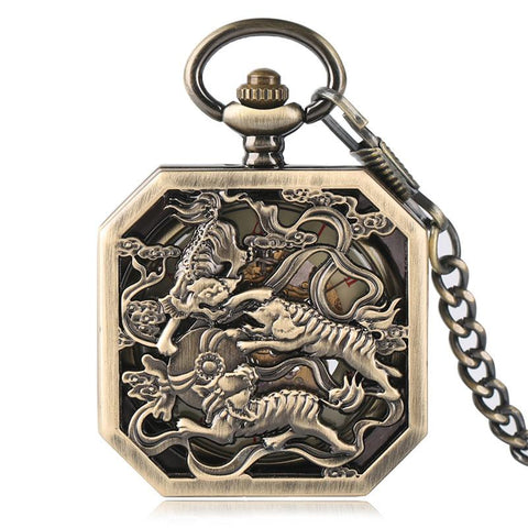 Pocket Watch - Copper Tiger Hand Winding Mechanical Pocket Watch
