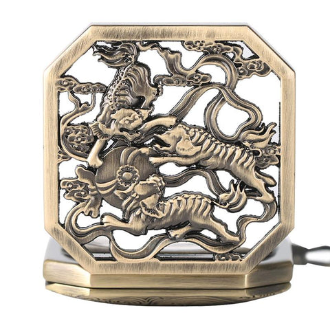 Copper Tiger Hand Winding Mechanical Pocket Watch