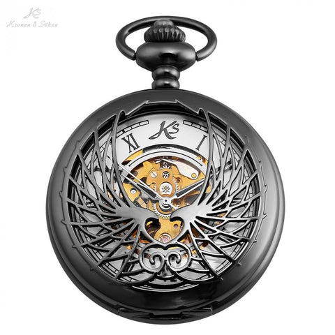 Pocket Watch - KS Roman Number Black Mens Wings Mechanical Pocket Watch