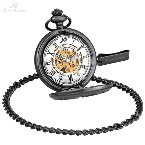 KS Roman Number Black Mens Wings Mechanical Pocket Watch