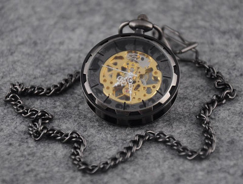 Pocket Watch - Open Face Bronze Steel Chain Wind-up Pocket Watch
