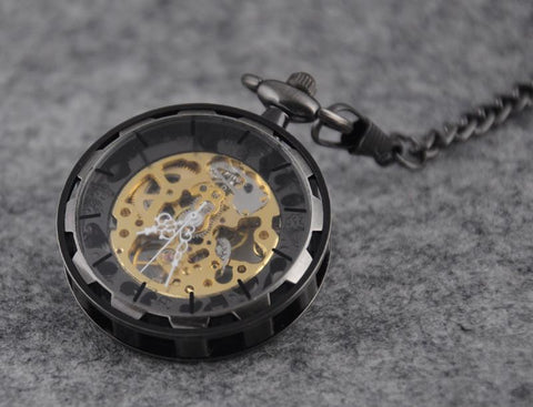 Open Face Bronze Steel Chain Wind-up Pocket Watch